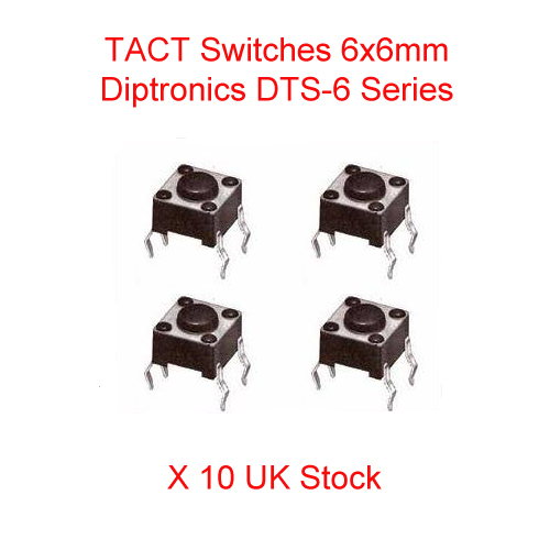 5x Micro Mini Button 6x6mm Height 4,3mm SMD 4 pin Tactile Switch 12v 7621